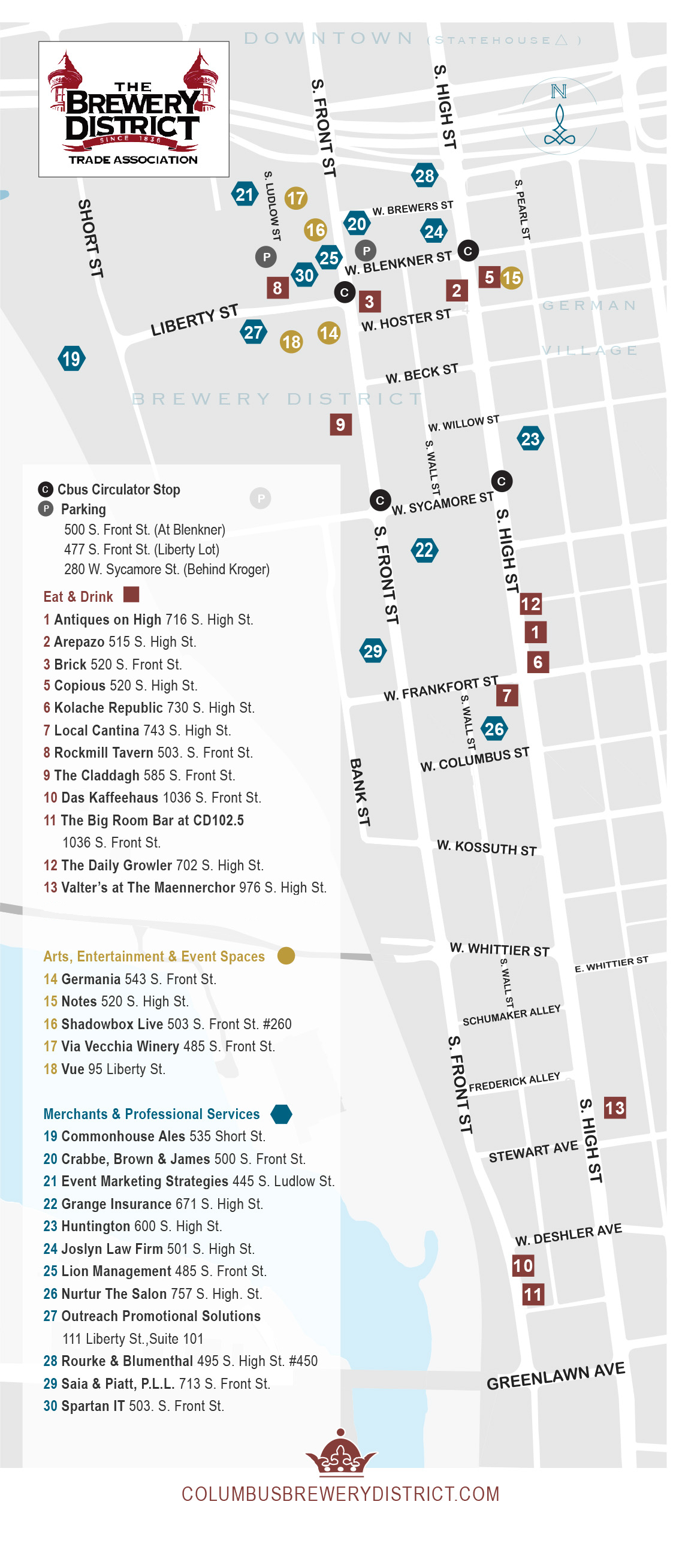 Map - Brewery District - Columbus, Ohio - The Brewery District Trade ...